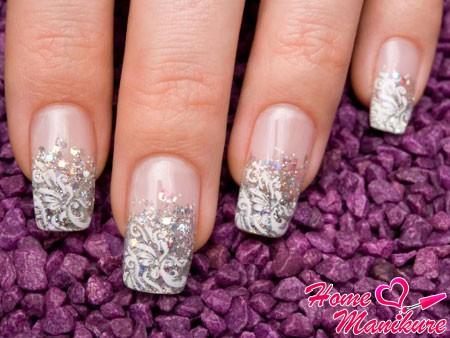 стильный дизайн нарощенных ногтей на свадьбу