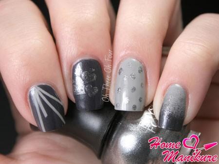 стильный нейл-арт в разных оттенках серого