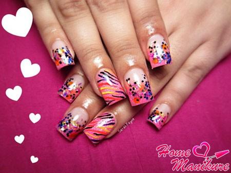 акриловые ногти с ярким летним дизайном