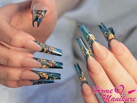 аквариумный дизайн ногтей в форме Монро