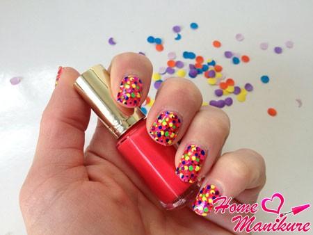 арт-стикеры для ногтей в стиле конфети