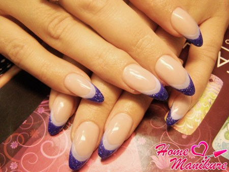 Double french manicure on nails almonds