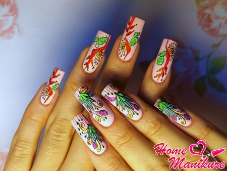 экзотическая флористика в дизайне ногтей
