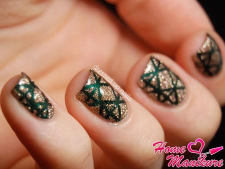 глиттерный дизайн квадратных ногтей