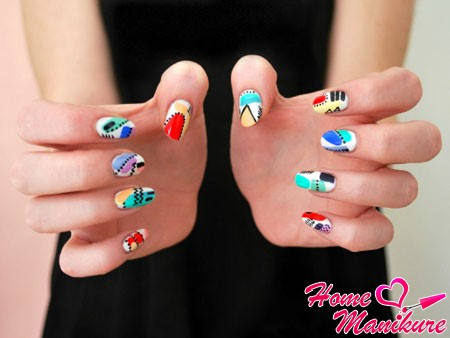 interesting abstraction in summer nail-art