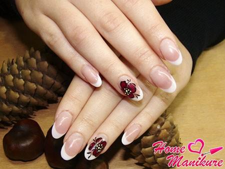классические овальные ногти френч
