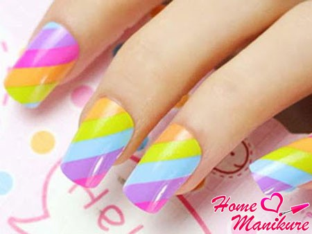 cool rainbow nail design for summer 2014