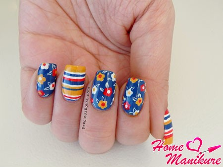 beautiful floral manicure for summer 2014