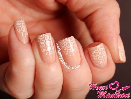 square nails with stamping pattern
