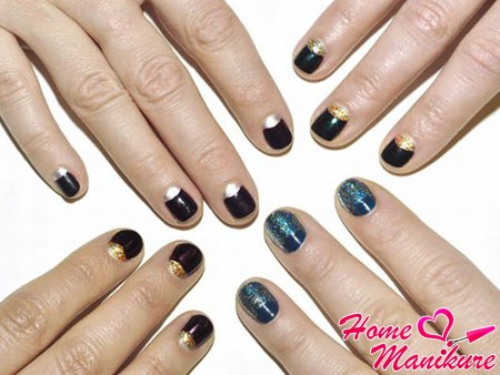 moon design rounded nails in dark colors