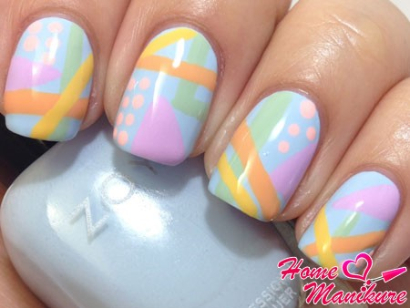 Abstract gentle manicure for summer 2014