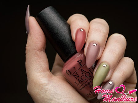 colorful frosted almond shaped nails