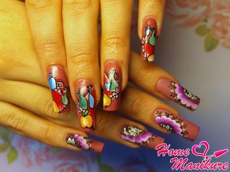 рисунки фруктов и цветов ручками на ногтях