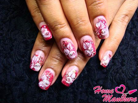 романтичный дизайн акриловых нарощенных ногтей