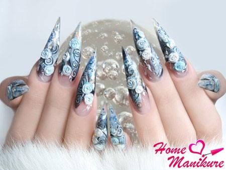 роскошный дизайн длинных острых ногтей