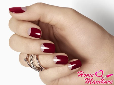 luxury moon manicure in wine colors