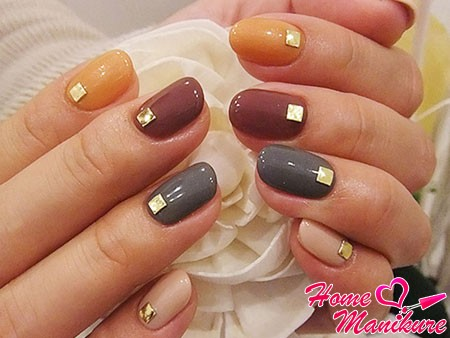 stylish colorful nails rounded shape