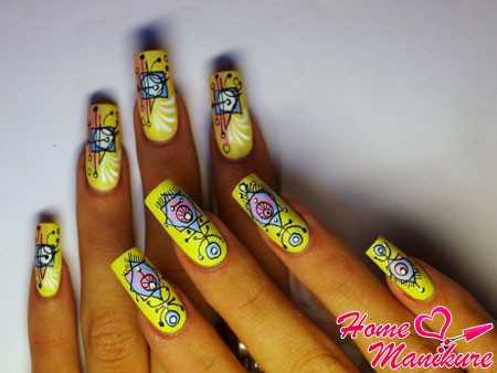 bright abstract nail design with handles