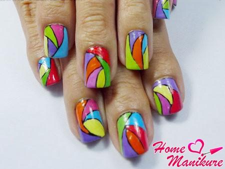 яркий дизайн ногтей на лето 2014