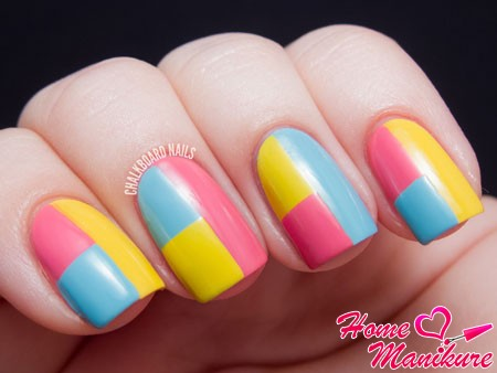 bright nail art on square nails