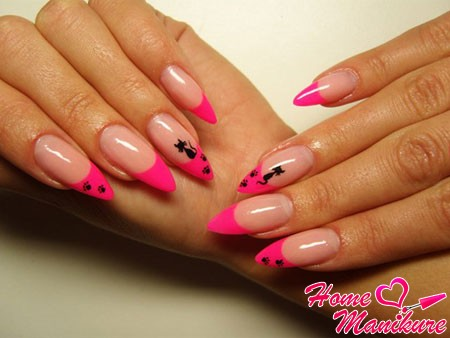 bright pink jacket on almond nails