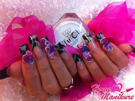 акриловая лепка небольших цветков на ногтях