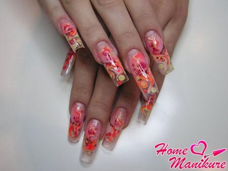 аквариум с росписью на нарощенных ногтях
