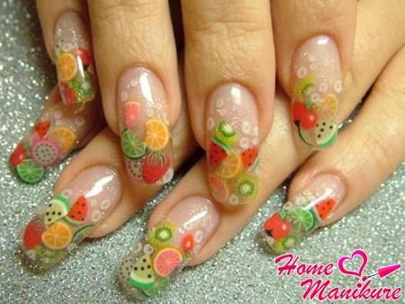 аквариумное наращивание ногтей с фруктами фимо