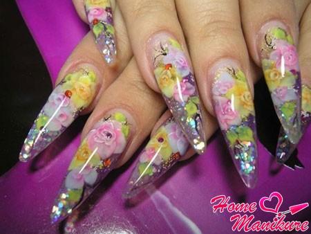 аквариумный дизайн нарощенных ногтей с цветами