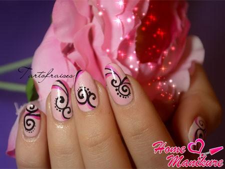 дизайн ногтей с красивыми рисунками лаком-лайнером