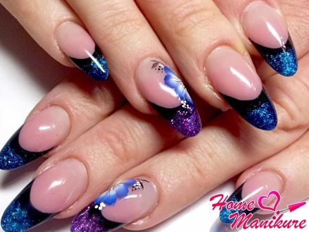 гелевые ногти френч с рисунками