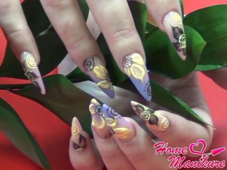 гелевые ногти с цветочными рисунками