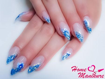 красивые нарощенные ногти миндалевидной формы