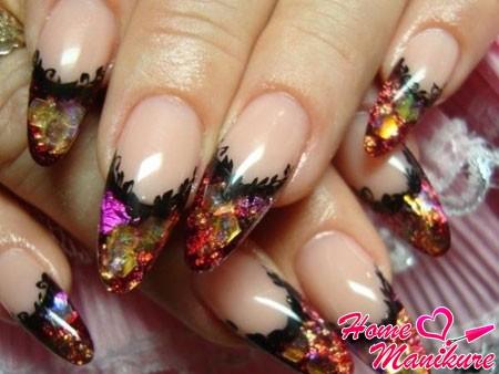 красивые нарощенные ногти в аквариумном стиле