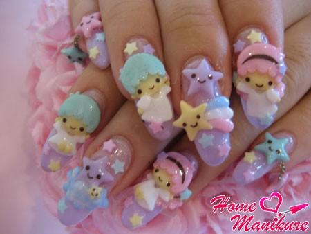 лепка на ногтях по случаю рождения малыша