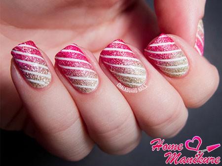 модный полосатый дизайн ногтей летом 2014