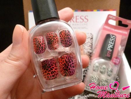 накладные ногти Impress с животным принтом