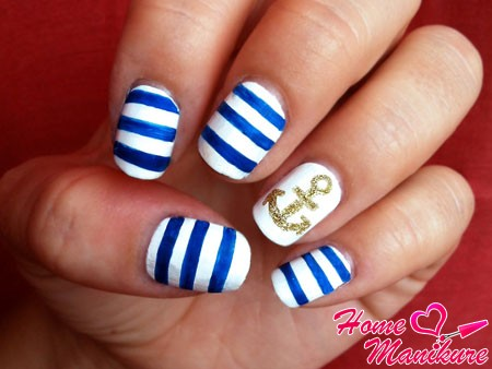 оригинальные рисунки на ногтях в морском стиле