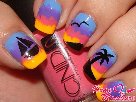 Идеи летних рисунков на ногтях