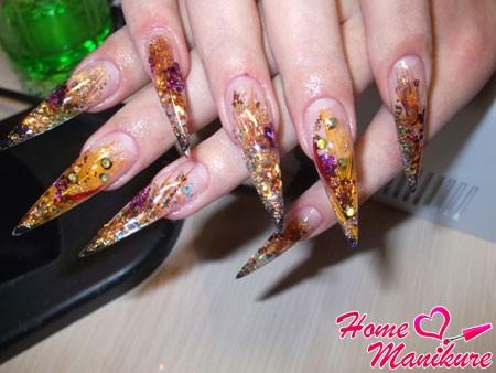 роскошное наращивание ногтей с эффектом аквариума