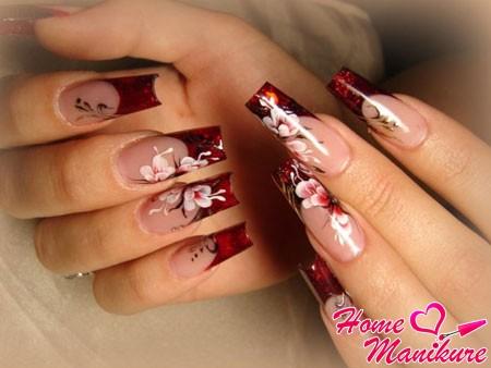 великолепные цветочные рисунки на гелевых ногтях