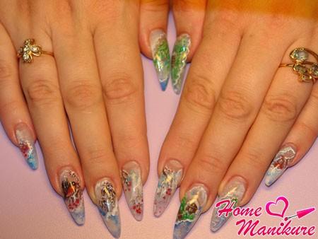 зимний дизайн ногтей с эффектом аквариума