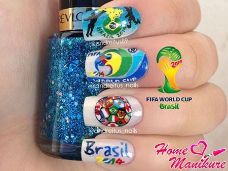 классный дизайн ногтей для футбольной болельщицы