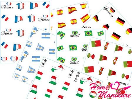 наборы наклеек для ногтей с дизайнами стран