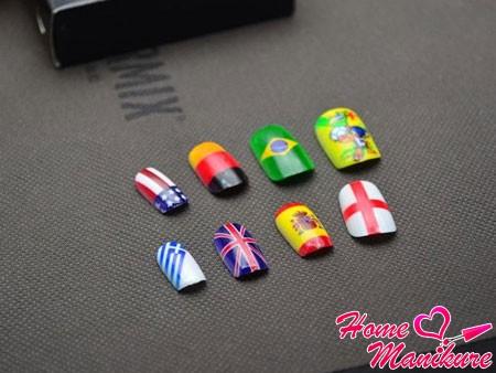 твердый лак для ногтей с дизайном флагов