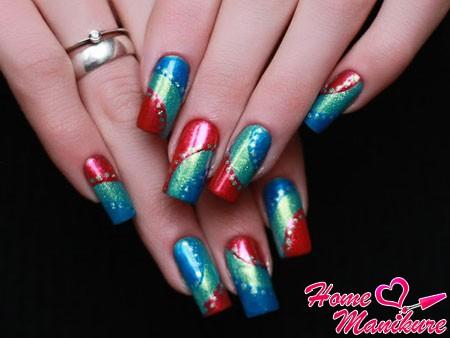 яркий дизайн ногтей лаками EL Corazon