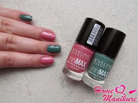 двухцветный дизайн ногтей лаками Эвелин