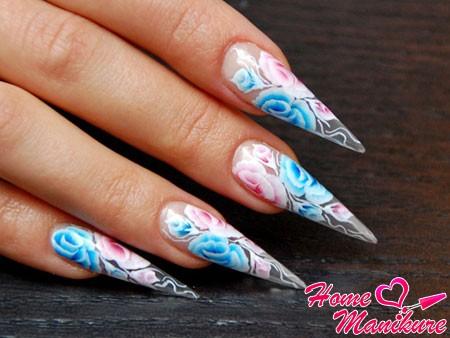 китайская роспись на нарощенных ногтях