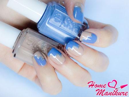 стильный дизайн ногтей двумя лаками Essie