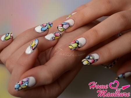 замечательная акварельная роспись ногтей